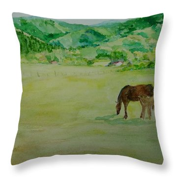 Horses Mare Foal Pastures Rural Landscape Original Art Oregon Western Artist K. Joann Russell Throw Pillow