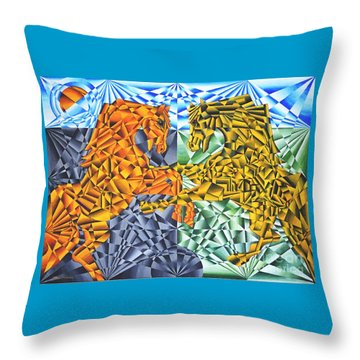 Throw Pillow featuring the painting Horses Of A Different Color by Joseph J Stevens