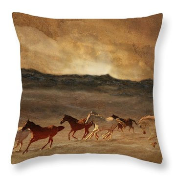 Horses Of Stone Throw Pillow