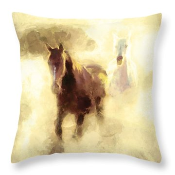 Horses Of The Mist Throw Pillow by Greg Collins