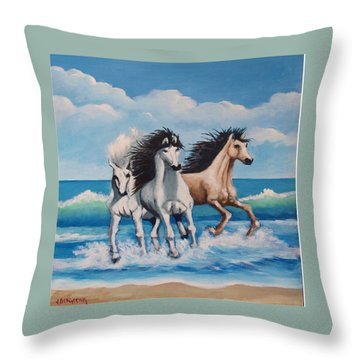 Horses On A Beach Throw Pillow