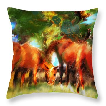 Throw Pillow featuring the painting Horses On A Kentucky Farm by Ted Azriel