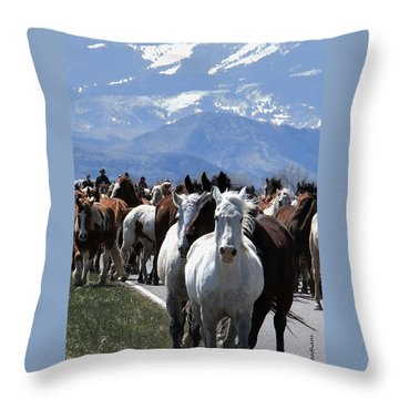 Horses On Road Throw Pillow