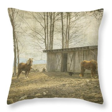 Horses On The Farm Throw Pillow