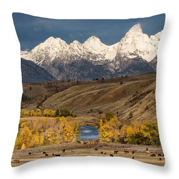 Horses On The Gros Ventre River Throw Pillow