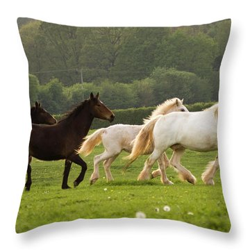 Horses On The Meadow Throw Pillow by Angel  Tarantella