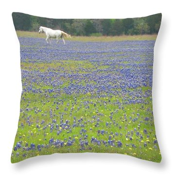 Horses Running In Field Of Bluebonnets Throw Pillow by Connie Fox