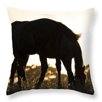 Horses Sunset Throw Pillow by Michael Mogensen