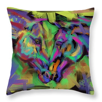 Throw Pillow featuring the painting Horses Together In Colour by Go Van Kampen