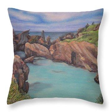 Horseshoe Bay Beach Bermuda Throw Pillow
