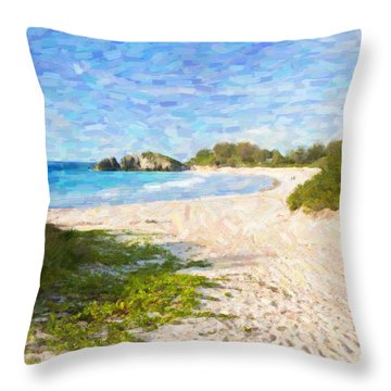 Throw Pillow featuring the photograph Horseshoe Bay In Bermuda by Verena Matthew