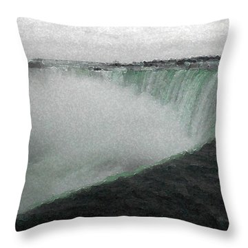 Horseshoe Falls In Winter Throw Pillow