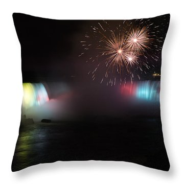 Horseshoe Falls With Fireworks Throw Pillow