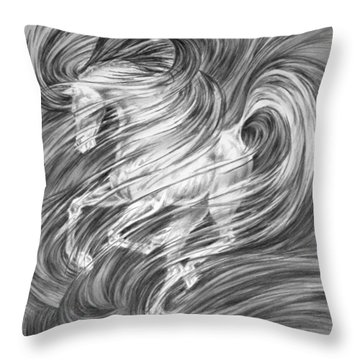 Throw Pillow featuring the drawing Horsessence - Fantasy Dream Horse Print by Kelli Swan