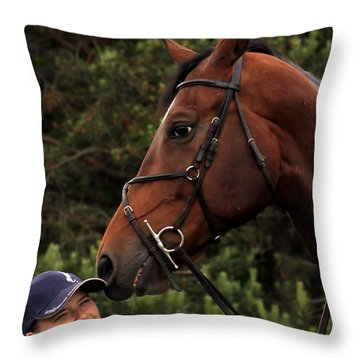 Horsie Nudge Throw Pillow