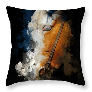Throw Pillow featuring the digital art Horsing Around by Davina Washington