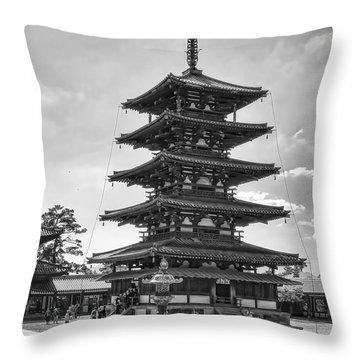 Horyu-ji Temple Pagoda B W - Nara Japan Throw Pillow by Daniel Hagerman