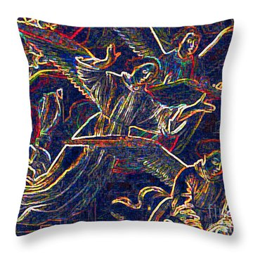 Throw Pillow featuring the digital art Host Of Angels By Jrr by First Star Art