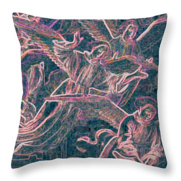 Throw Pillow featuring the digital art Host Of Angels Pink by First Star Art