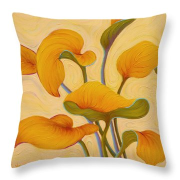 Throw Pillow featuring the painting Hosta Hoofin' by Sandi Whetzel
