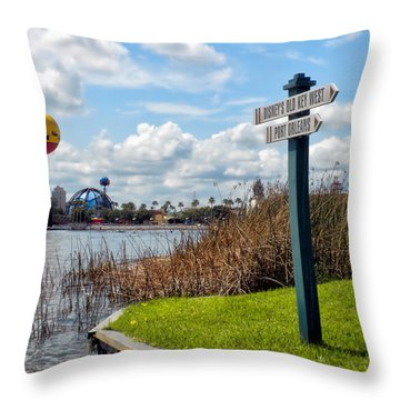 Hot Air Balloon And Old Key West Port Orleans Signage Disney World Throw Pillow by Thomas Woolworth