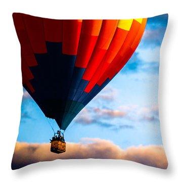 Hot Air Balloon And Powered Parachute Throw Pillow by Bob Orsillo