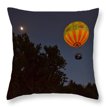 Hot Air Balloon At Night  Throw Pillow