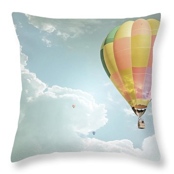 Hot Air Balloon Enchanted Clouds Throw Pillow by Andrea Hazel Ihlefeld