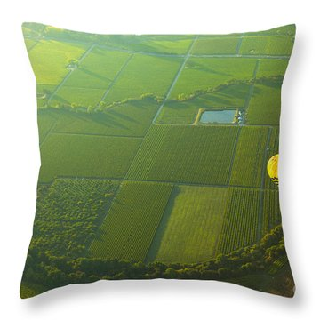 Hot Air Balloon Over Napa Valley California Throw Pillow by Diane Diederich