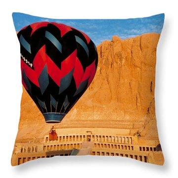 Hot Air Balloon Over Thebes Temple Throw Pillow by John G Ross