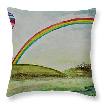 Hot Air Balloon Rainbow Throw Pillow