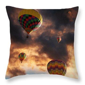 Hot Air Balloons - Chasing The Horizon Throw Pillow