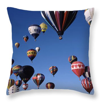 Hot Air Balloons Floating In Sky Throw Pillow by Panoramic Images