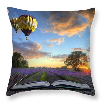 Hot Air Balloons Lavender Landscape Magic Book Pages Throw Pillow by Matthew Gibson