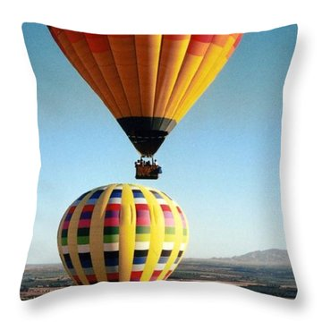 Balloon Stacking Throw Pillow by Richard Engelbrecht