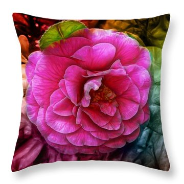 Hot And Silky Pink Rose Throw Pillow by Lilia D