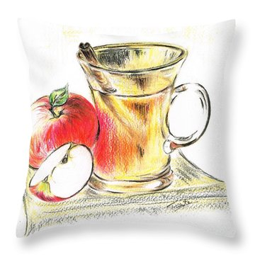 Hot Apple Cider Throw Pillow by Teresa White