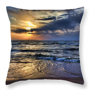 Hot April Sunset Saugatuck Michigan Throw Pillow