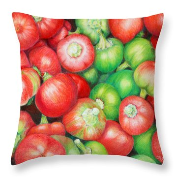 Hot Cherry Peppers Throw Pillow by Mariarosa Rockefeller