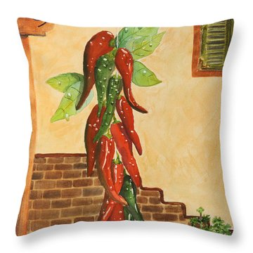 Hot Chili Peppers Throw Pillow by Patricia Novack