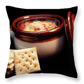 Hot Chili With Cheese And Crackers Throw Pillow by Andee Design
