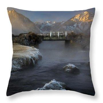 Hot Creek In Winter Throw Pillow