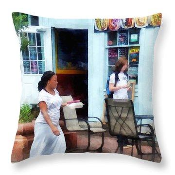 Hot Dog Shop Fells Point Throw Pillow by Susan Savad