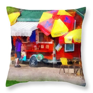 Hot Dog Stand In Mall Throw Pillow by Susan Savad