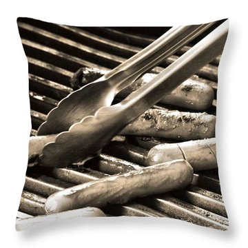 Hot Dogs On The Grill Throw Pillow by Dan Sproul