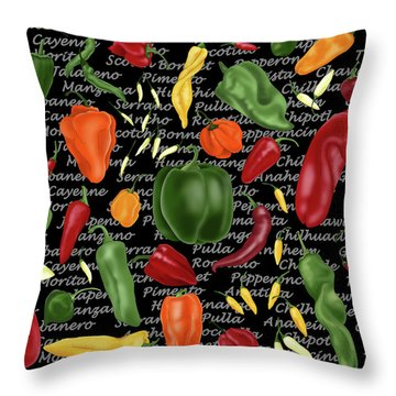 Hot For Chilis Throw Pillow