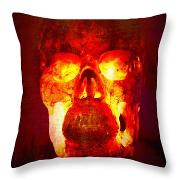 Hot Headed Skull Throw Pillow