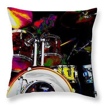 Hot Licks Drummer Throw Pillow by Kae Cheatham