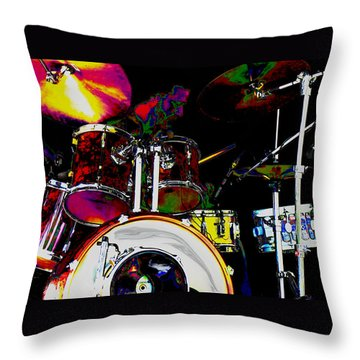 Hot Licks Drummer Throw Pillow
