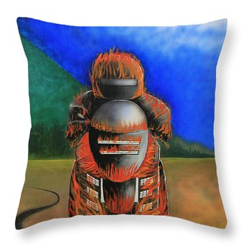 Throw Pillow featuring the painting Hot Moto by Tim Mullaney